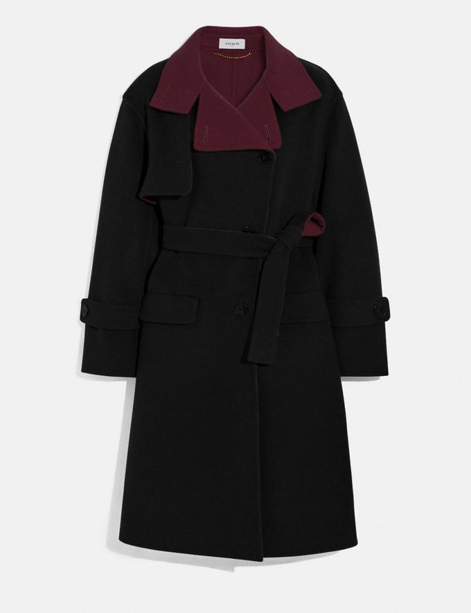 Coach Oversized Storm Flap Coat Black/Burgundy New Women's New Arrivals Ready-to-Wear