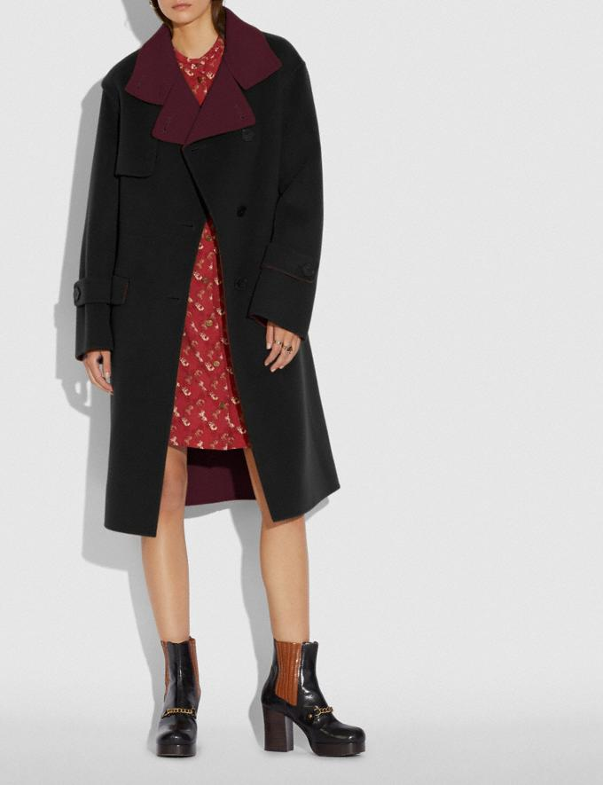 Coach Oversized Storm Flap Coat Black/Burgundy New Women's New Arrivals Ready-to-Wear Alternate View 1