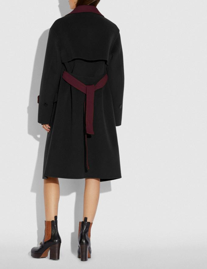 Coach Oversized Storm Flap Coat Black/Burgundy New Women's New Arrivals Ready-to-Wear Alternate View 2