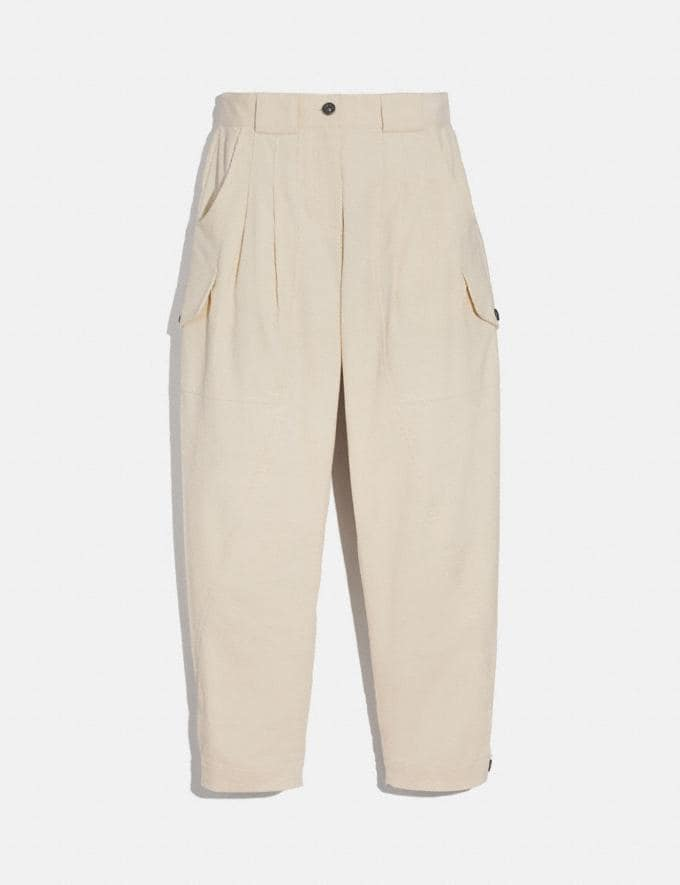 Coach Corduroy Utility Trousers Cream Women Ready-to-Wear Bottoms