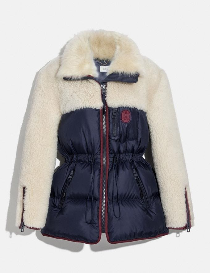 Coach Shearling Puffer Coat Navy Women Ready-to-Wear Coats & Jackets