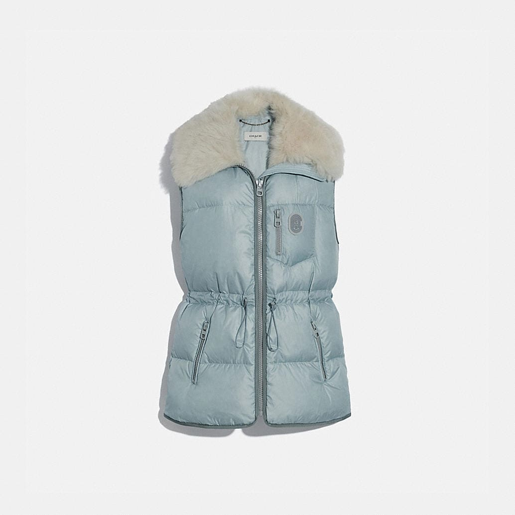 Puffer Vest With Removable Shearling Collar by Coach