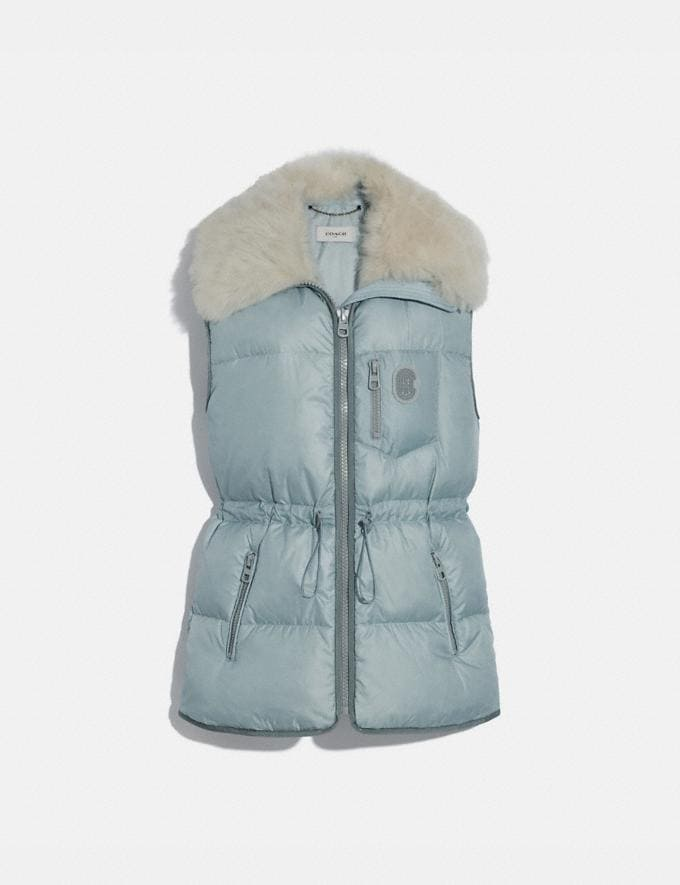 Coach Puffer Vest With Removable Shearling Collar Light Blue