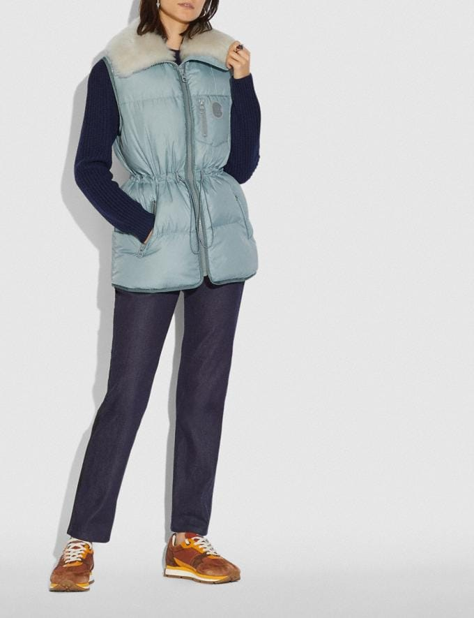 Coach Puffer Vest With Removable Shearling Collar Light Blue Women Ready-to-Wear Coats & Jackets Alternate View 1