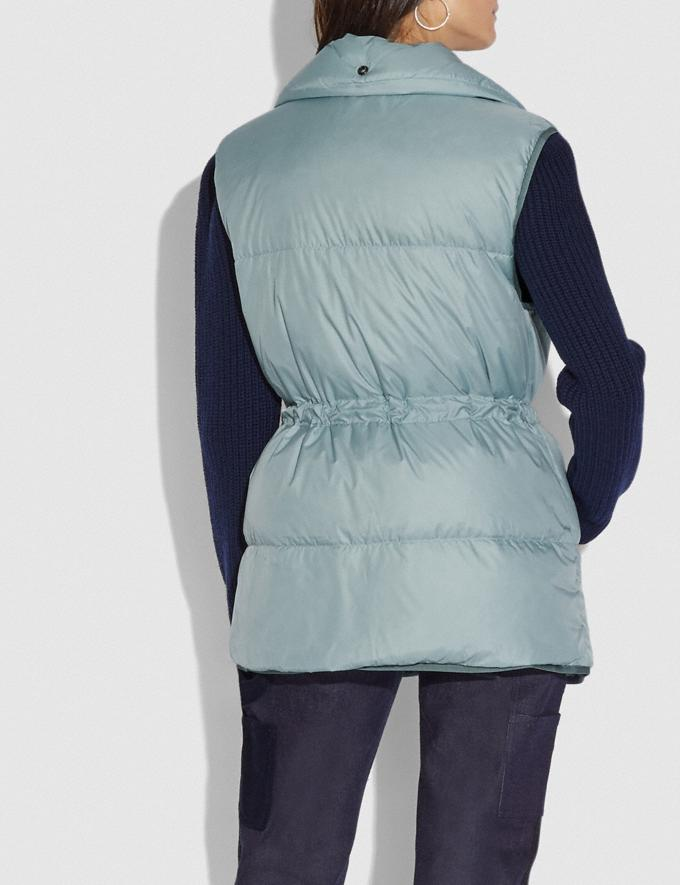 Coach Puffer Vest With Removable Shearling Collar Light Blue Women Ready-to-Wear Coats & Jackets Alternate View 2