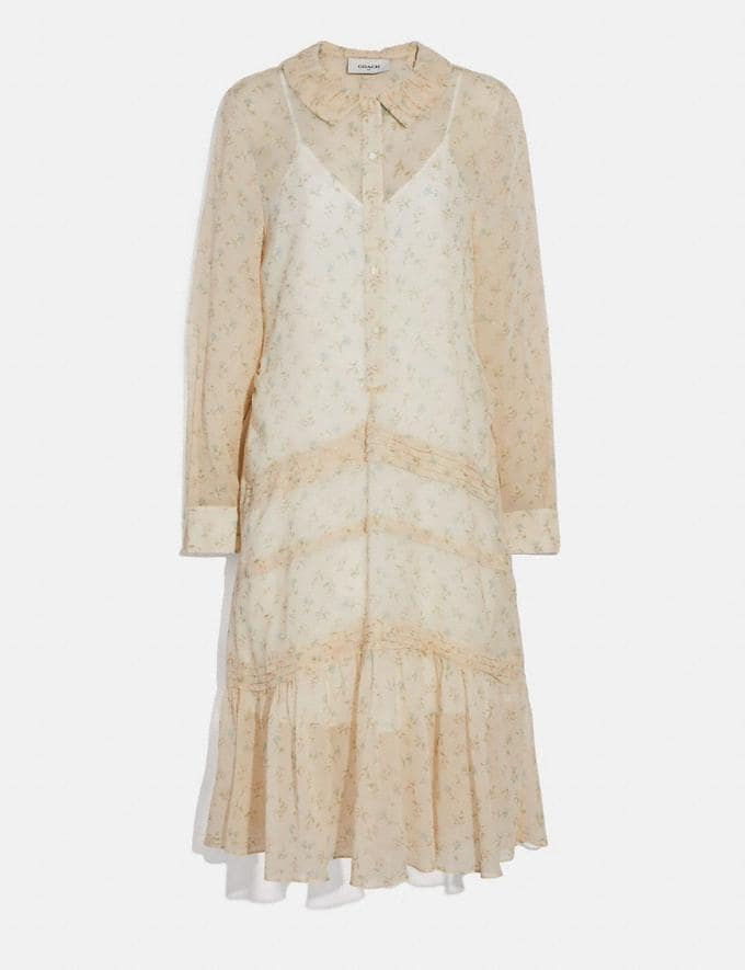 Coach Dot Georgette Pleated Dress Ivory/Pink New Women's New Arrivals