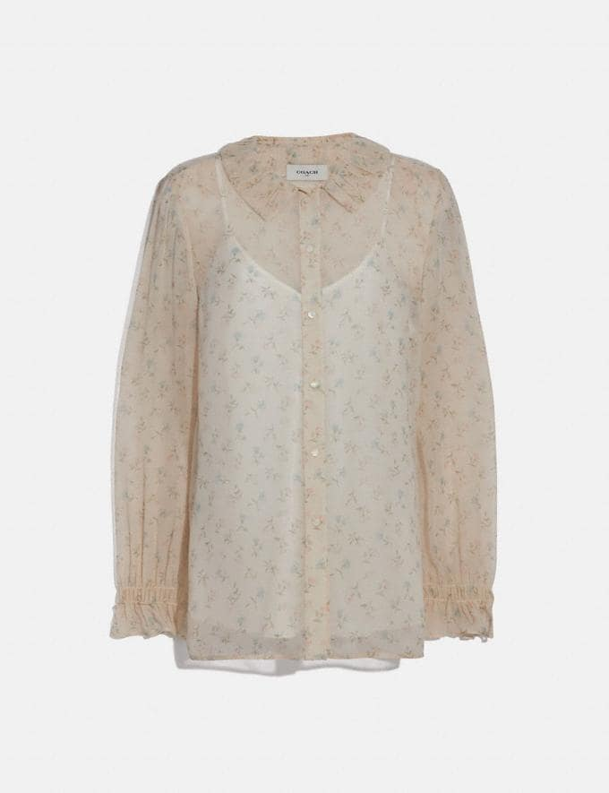Coach Dot Georgette Blouse Ivory/Pink New Women's New Arrivals