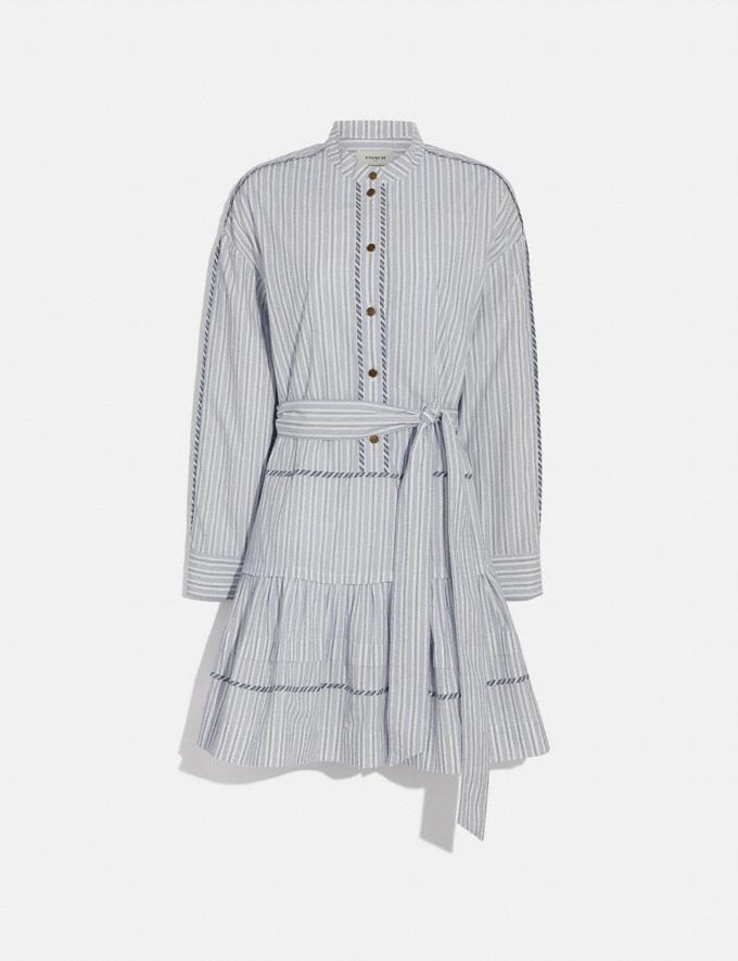 Coach Stripe Shirt Dress With Belt Blue/White New Women's New Arrivals Ready-to-Wear