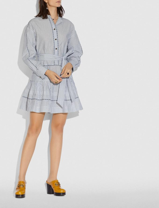 Coach Stripe Shirt Dress With Belt Blue/White New Women's New Arrivals Ready-to-Wear Alternate View 1