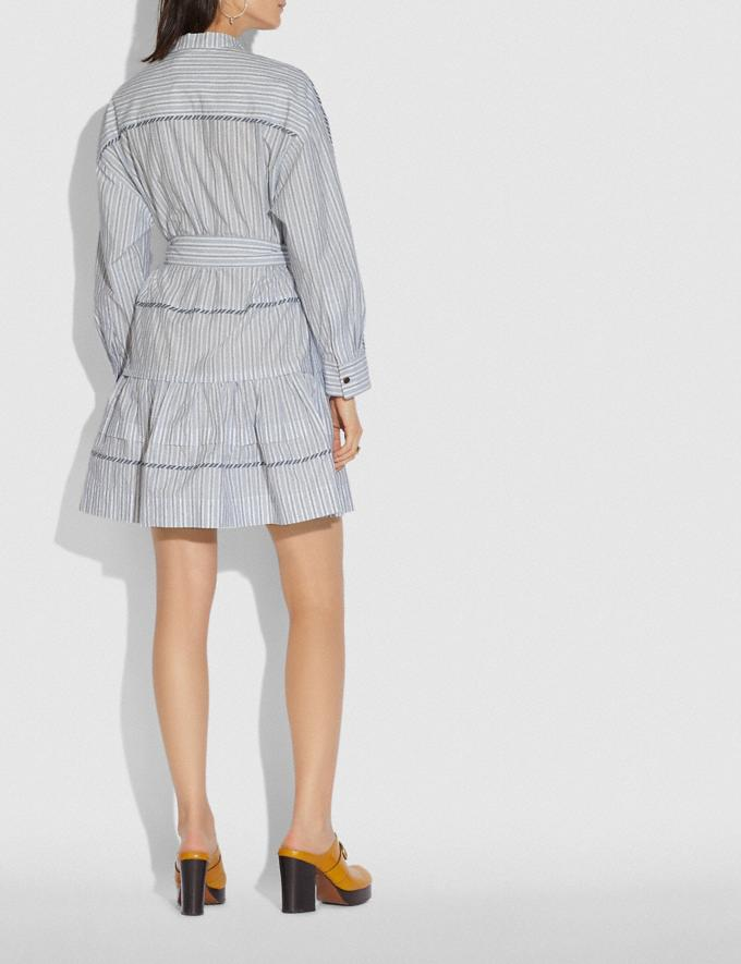 Coach Stripe Shirt Dress With Belt Blue/White New Women's New Arrivals Ready-to-Wear Alternate View 2