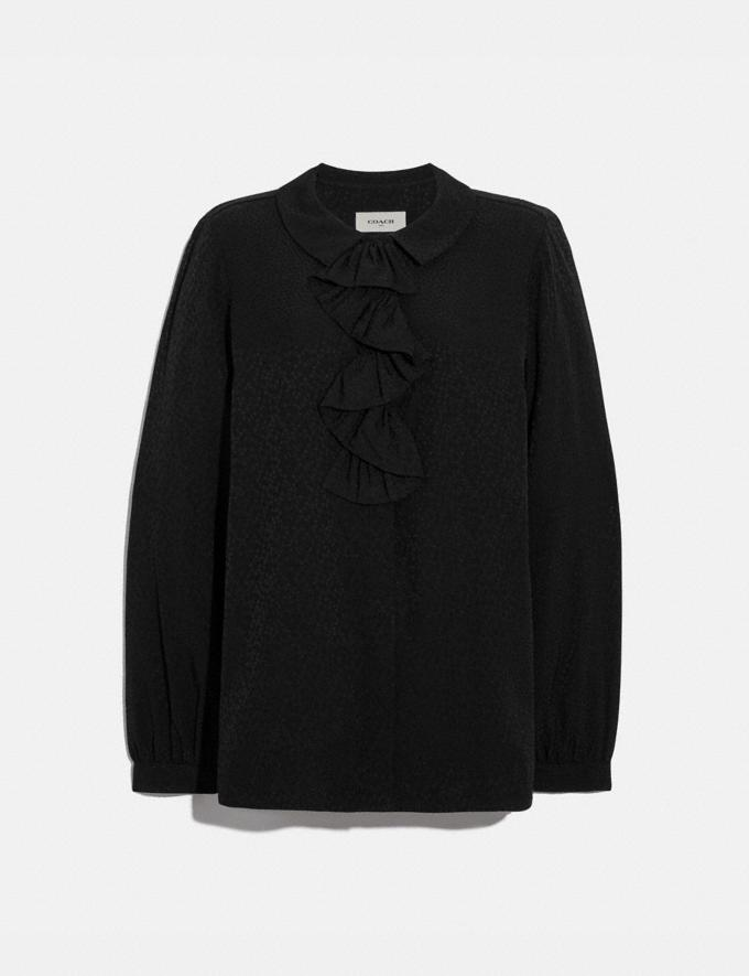 Coach Ruffle Neck Blouse Black Women Ready-to-Wear Tops