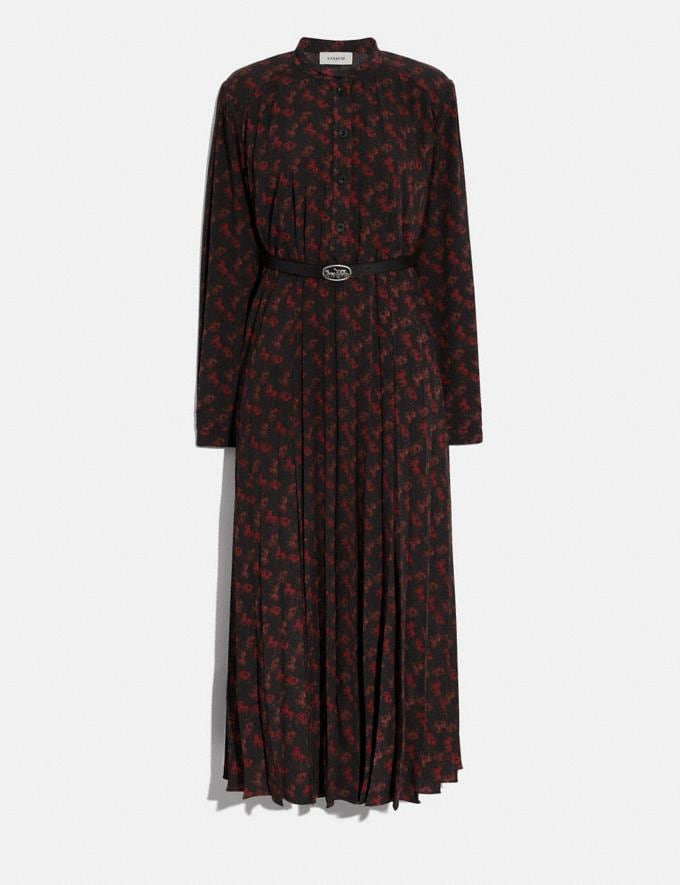 Coach Horse and Carriage Print Dress With Belt Black/Red Women Ready-to-Wear Dresses