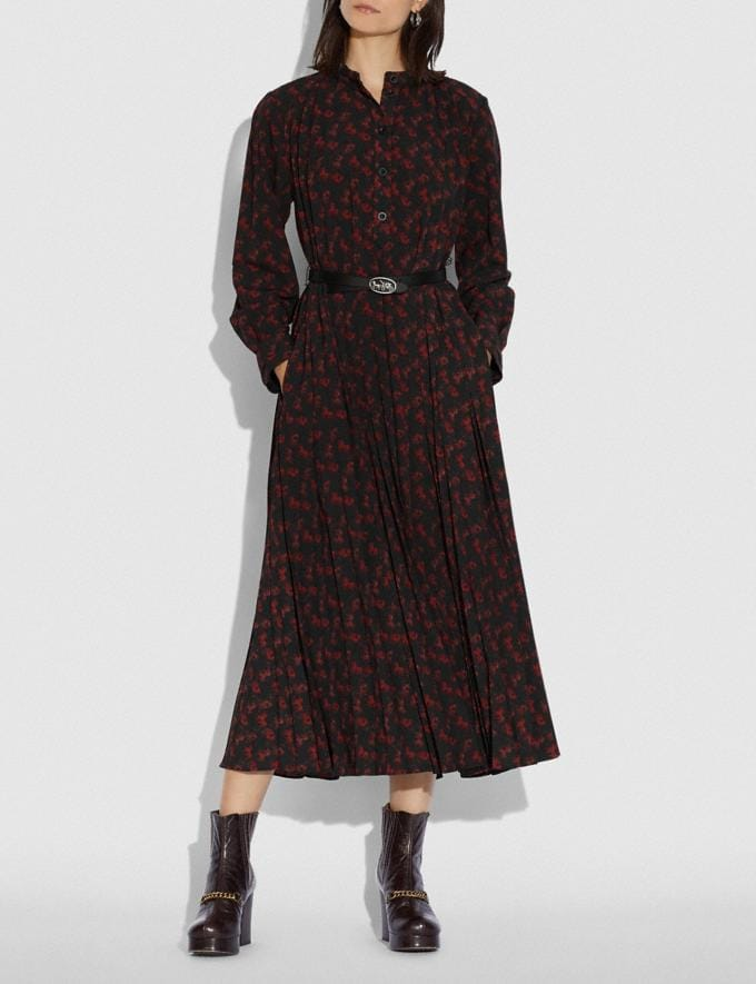 Coach Horse and Carriage Print Dress With Belt Black/Red Women Ready-to-Wear Dresses Alternate View 1