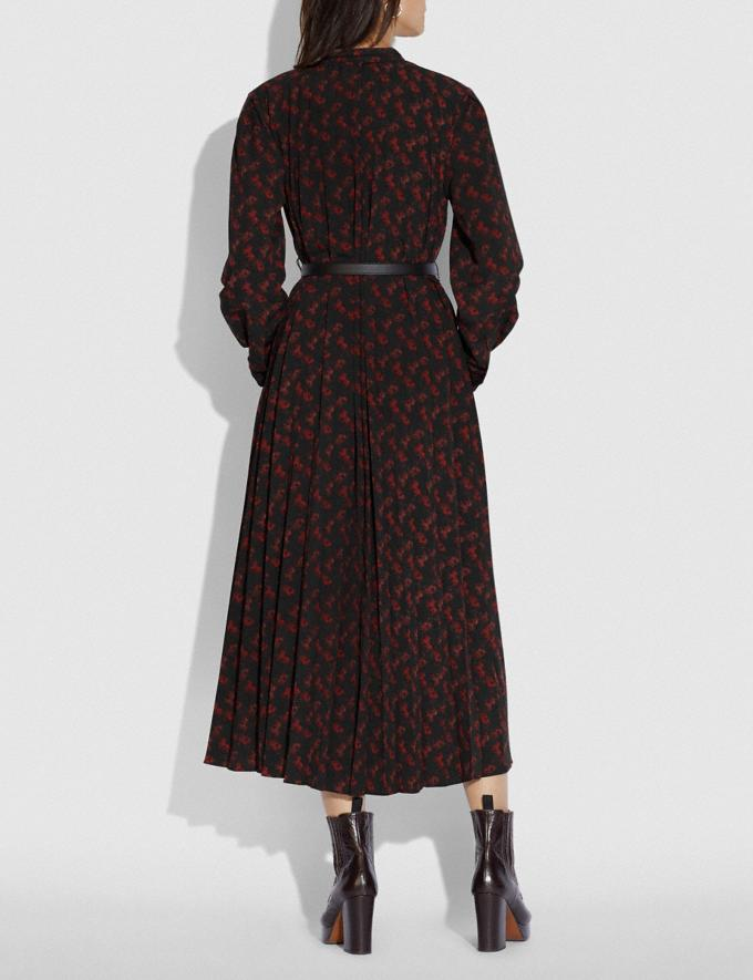 Coach Horse and Carriage Print Dress With Belt Black/Red  Alternate View 2