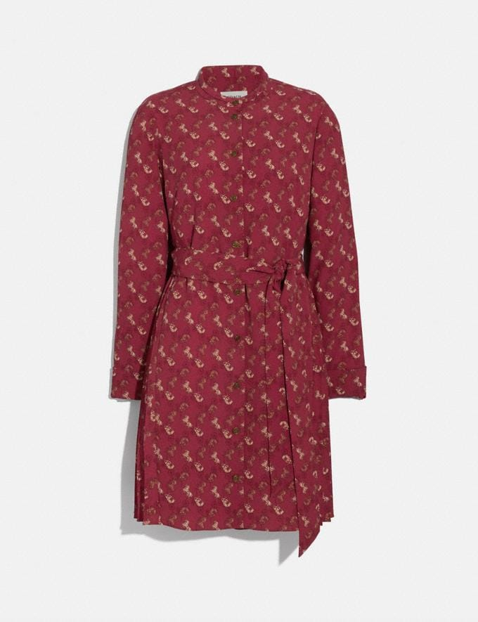 Coach Horse and Carriage Print Pleated Shirt Dress Red/Pink