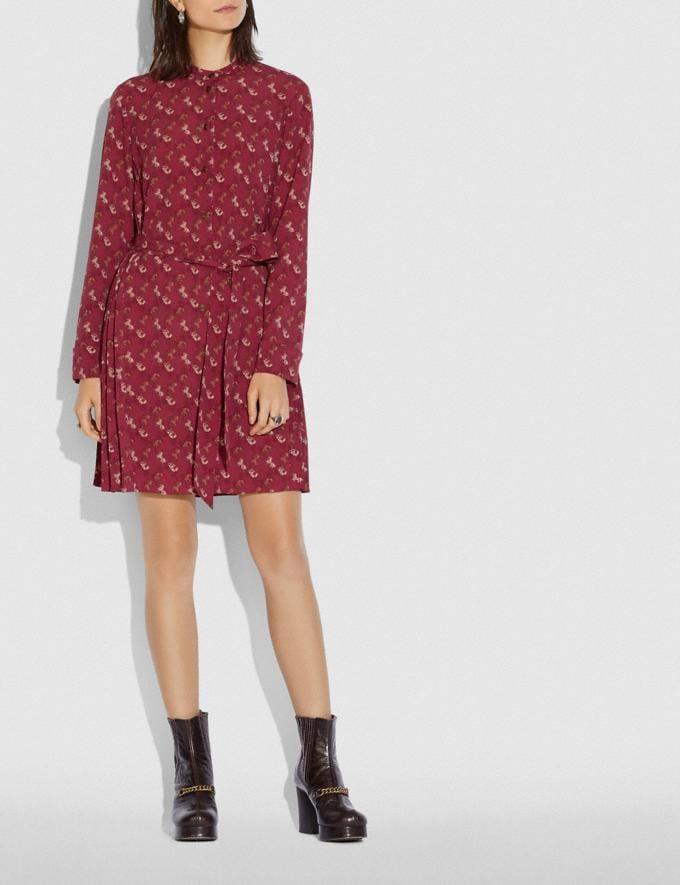 Coach Horse and Carriage Print Pleated Shirt Dress Red/Pink Women Ready-to-Wear Dresses Alternate View 1
