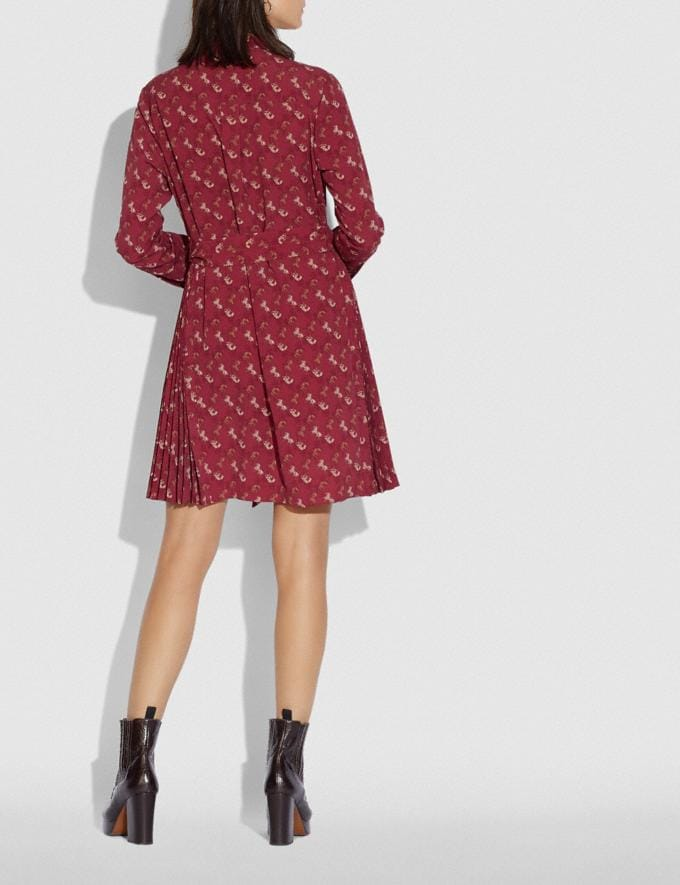 Coach Horse and Carriage Print Pleated Shirt Dress Red/Pink New Women's New Arrivals Alternate View 2