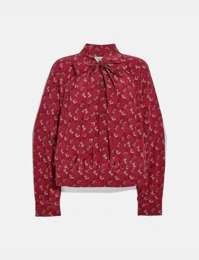 Coach Horse and Carriage Print Tie Neck Blouse Red/Pink Women Ready-to-Wear Tops & T-shirts