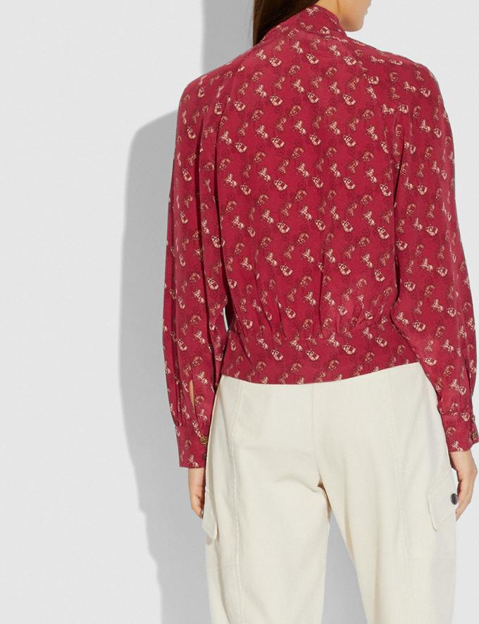 Coach Horse and Carriage Print Tie Neck Blouse Red/Pink Women Ready-to-Wear Tops & T-shirts Alternate View 2