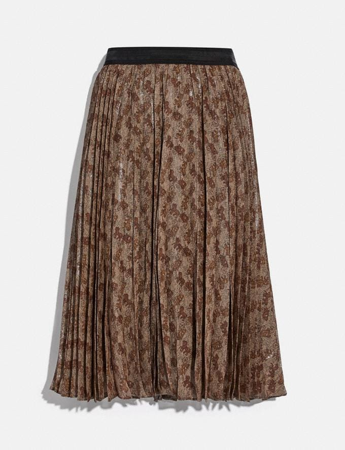 Coach Horse and Carriage Print Pleated Skirt Camel Women Ready-to-Wear Bottoms