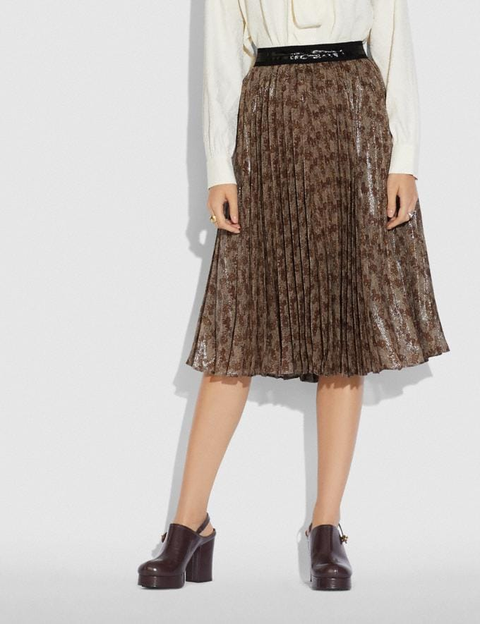 Coach Horse and Carriage Print Pleated Skirt Camel Women Ready-to-Wear Bottoms Alternate View 1