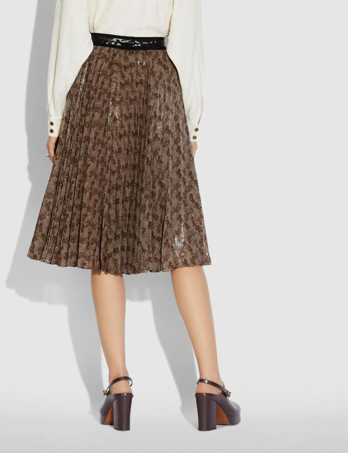 Coach Horse and Carriage Print Pleated Skirt Camel Women Ready-to-Wear Bottoms Alternate View 2