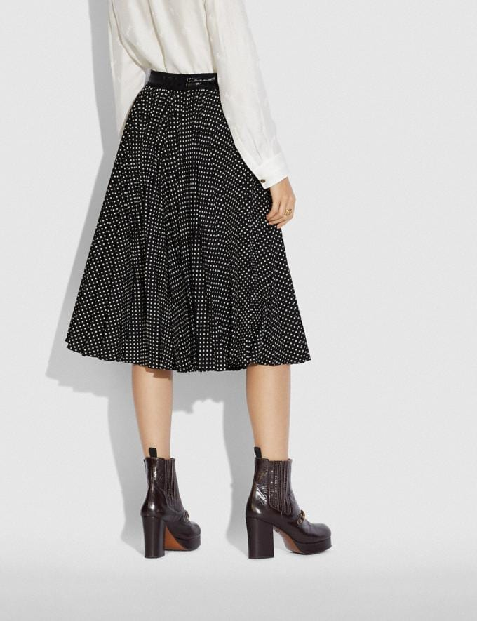 Coach Micro Dot Pleated Skirt Black  Alternate View 2