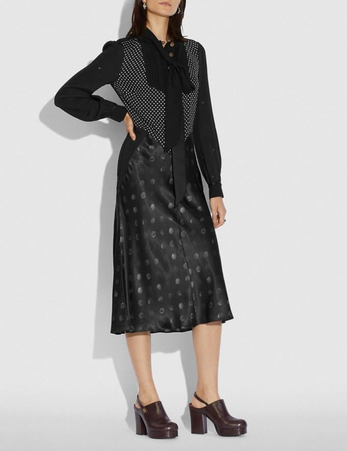 Coach Mixed Dot Bow Neck Dress Black New Women's New Arrivals Ready-to-Wear Alternate View 1