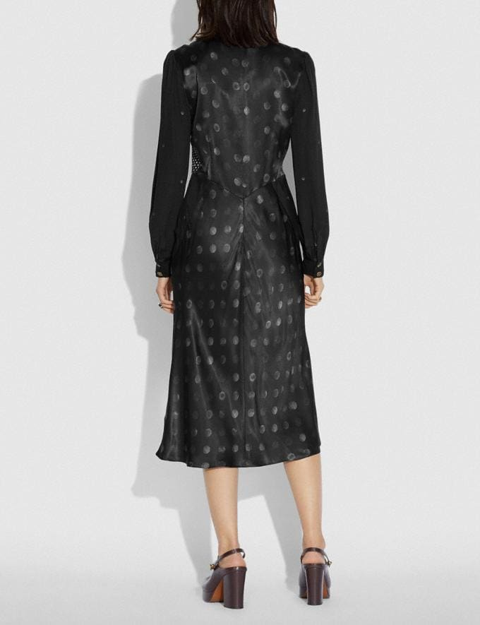 Coach Mixed Dot Bow Neck Dress Black New Women's New Arrivals Ready-to-Wear Alternate View 2