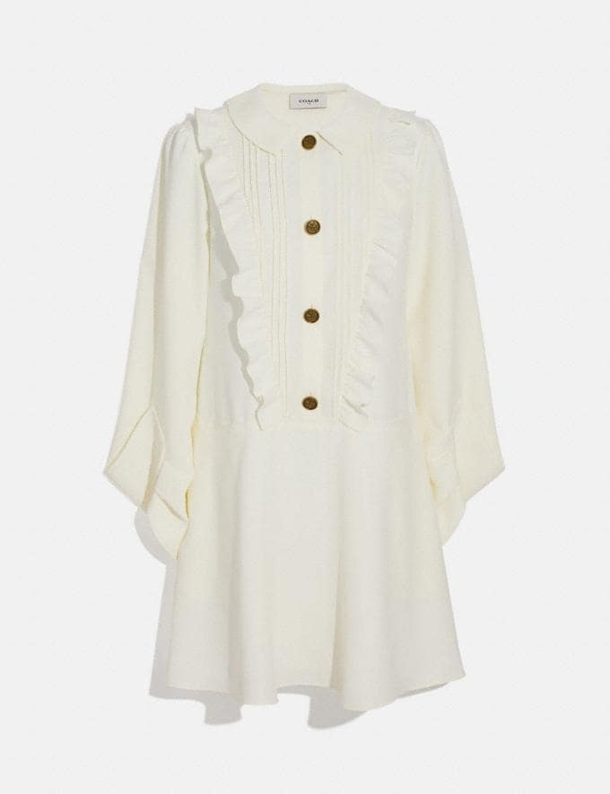 Coach Ruffle Bib Dress Cream Women Ready-to-Wear Dresses