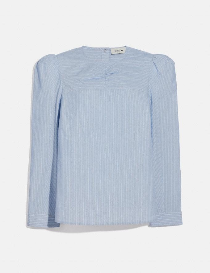 Coach Striped Cotton Long Sleeve Blouse Light Blue New Women's New Arrivals Ready-to-Wear