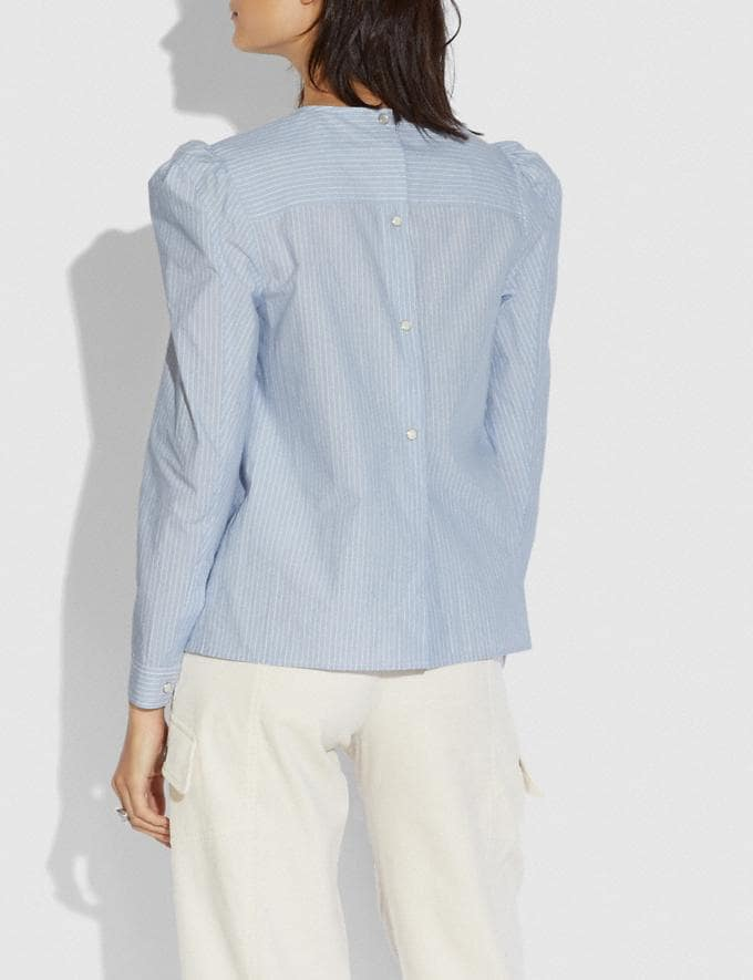 Coach Striped Cotton Long Sleeve Blouse Light Blue Women Ready-to-Wear Tops Alternate View 2
