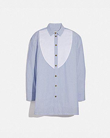 colorblock stripe cotton blouse