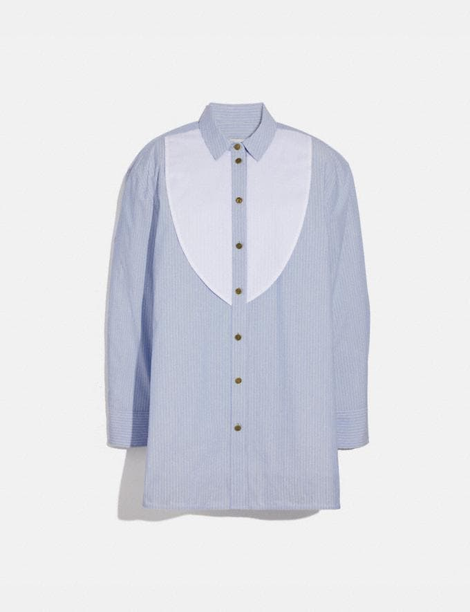 Coach Colorblock Stripe Cotton Blouse Light Blue Women Ready-to-Wear Tops