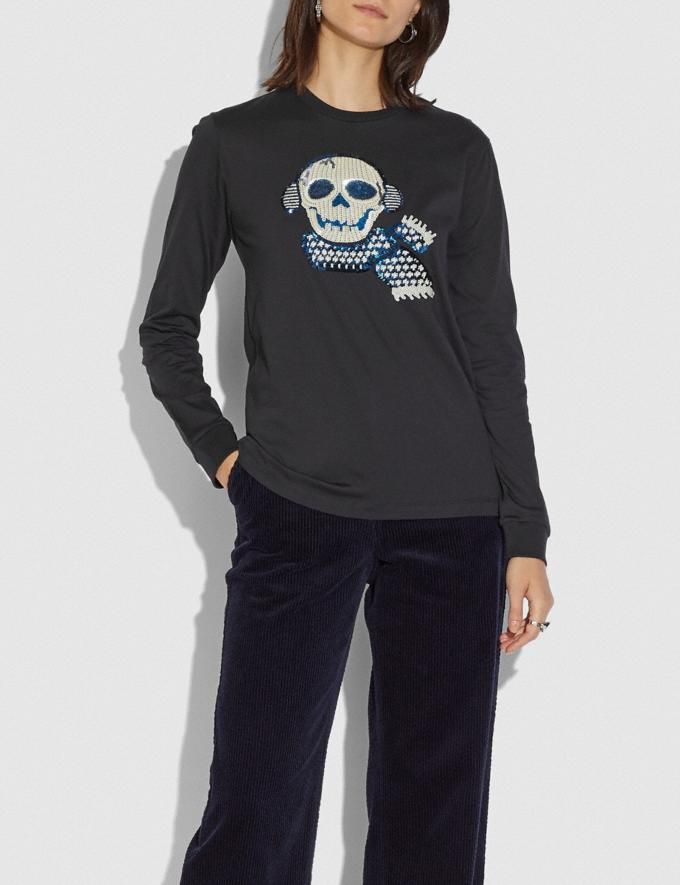 Coach Bonesy Long Sleeve T-Shirt Black Women Ready-to-Wear Tops Alternate View 1
