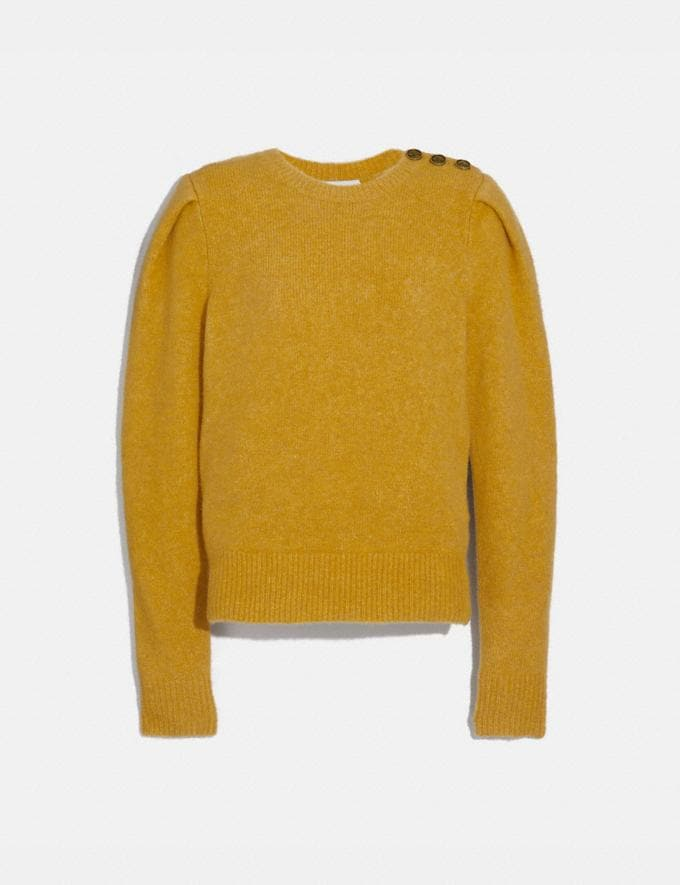 Coach Full Sleeve Crewneck Sweater Saffron New Women's New Arrivals Ready-to-Wear