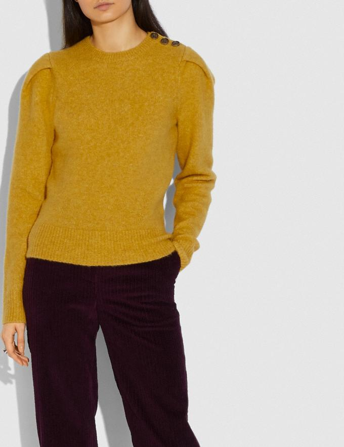 Coach Full Sleeve Crewneck Sweater Saffron New Women's New Arrivals Ready-to-Wear Alternate View 1