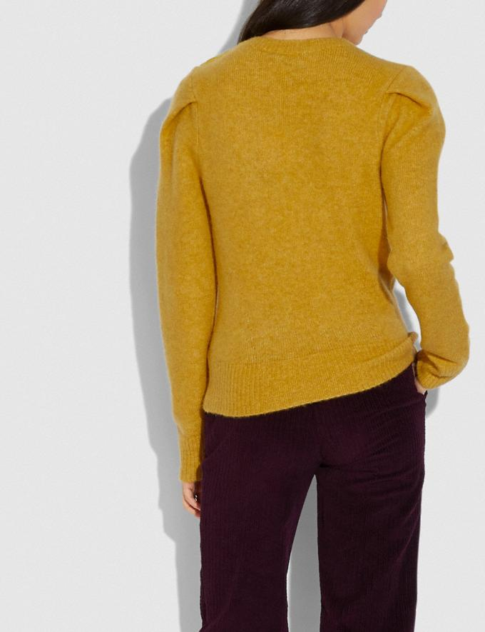Coach Full Sleeve Crewneck Sweater Saffron New Women's New Arrivals Ready-to-Wear Alternate View 2