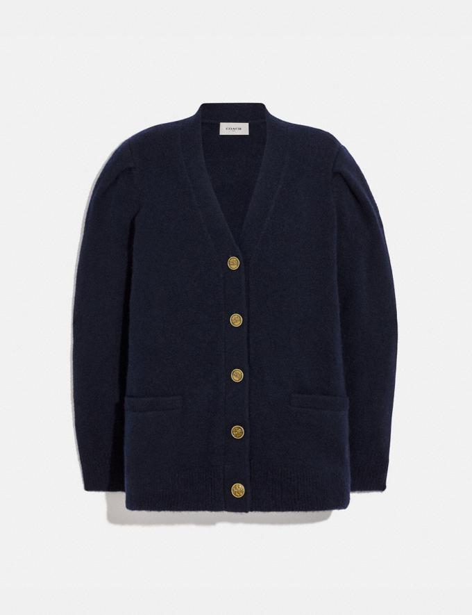 Coach Full Sleeve Cardigan Navy Women Ready-to-Wear Tops
