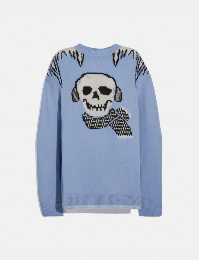 Coach Bonesy Intarsia Sweater Light Blue Women Ready-to-Wear