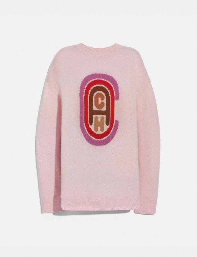 Coach Coach Intarsia Sweater Pink Women Ready-to-Wear Tops
