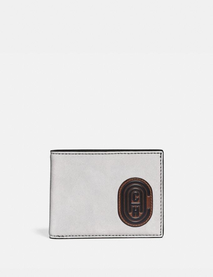 Coach Slim Billfold Wallet With Coach Patch Silver/Saddle/Black New Men's New Arrivals Wallets