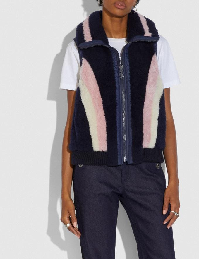 Coach Reversible Shearling Vest Navy  Alternate View 1
