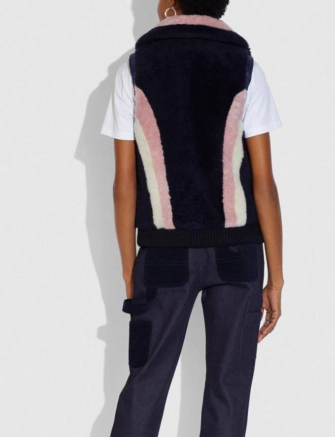 Coach Reversible Shearling Vest Navy  Alternate View 2