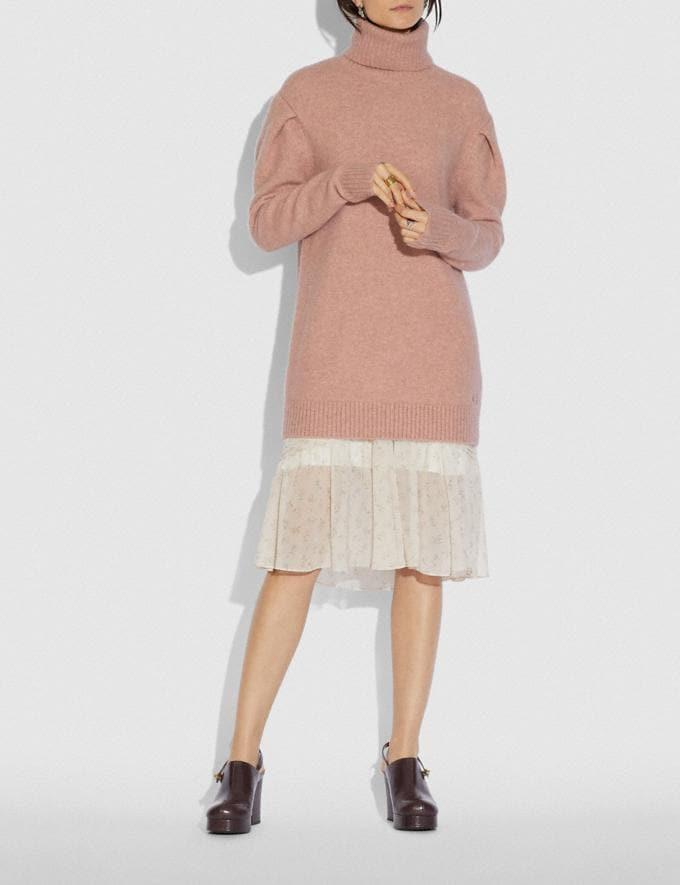 Coach Statement Sleeve Turtleneck Dusty Pink Women Ready-to-Wear Knitwear & Sweatshirts Alternate View 1