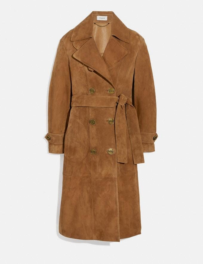Coach Suede Trench Coat Cappuccino New Women's New Arrivals Ready-to-Wear