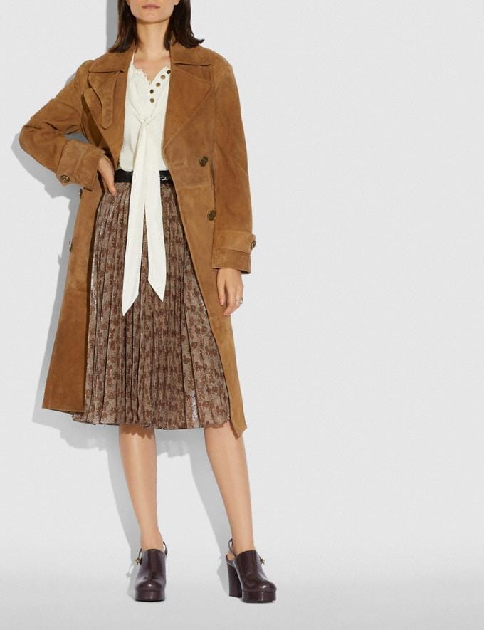 Coach Suede Trench Coat Cappuccino New Women's New Arrivals Ready-to-Wear Alternate View 1