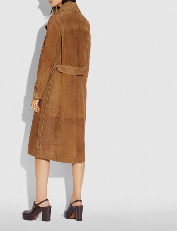 Coach Suede Trench Coat Cappuccino New Women's New Arrivals Ready-to-Wear Alternate View 2