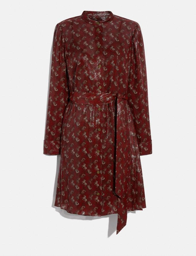 Coach Lunar New Year Horse and Carriage Print Pleated Shirt Dress Red Women Ready-to-Wear Dresses