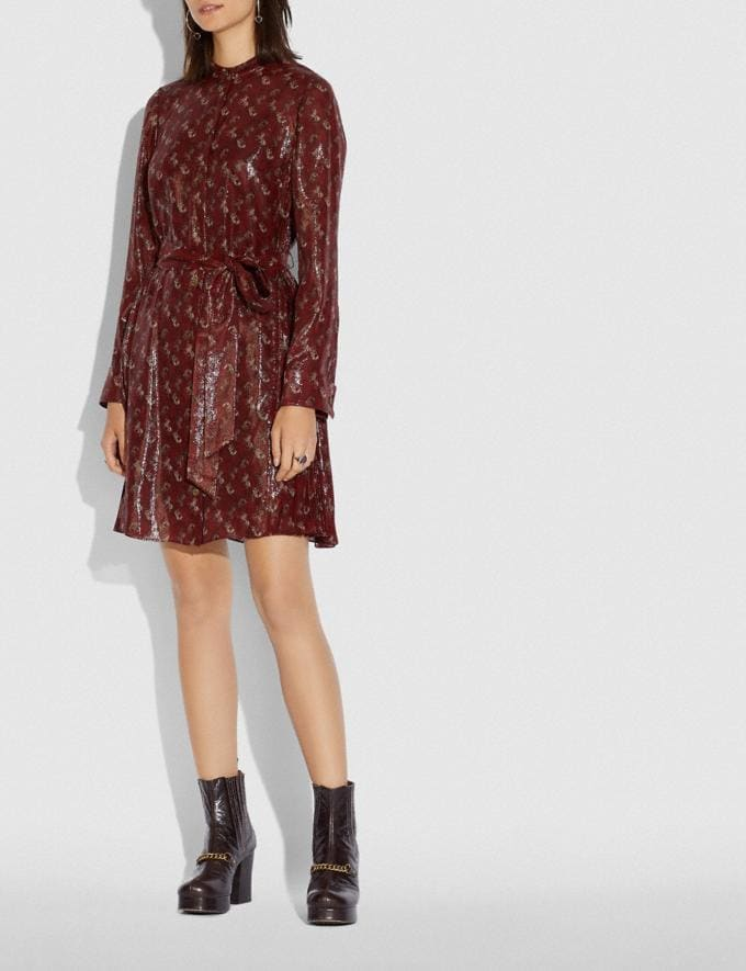 Coach Lunar New Year Horse and Carriage Print Pleated Shirt Dress Red Women Ready-to-Wear Dresses Alternate View 1